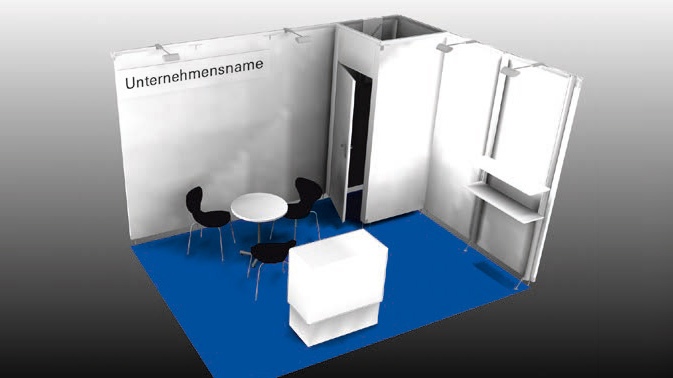 Example: Corner booth 12 sqm